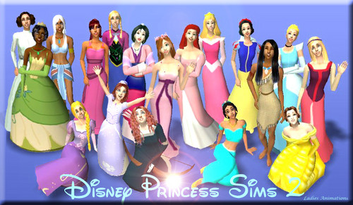 Disney Leading Ladies karatasi la kupamba ukuta called Disney Princess Sims 2