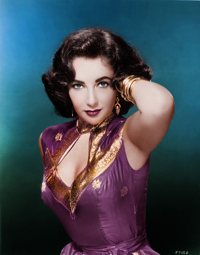 Elizabeth Taylor karatasi la kupamba ukuta possibly containing a bustier, a leotard, and tights titled Elizabeth Taylor