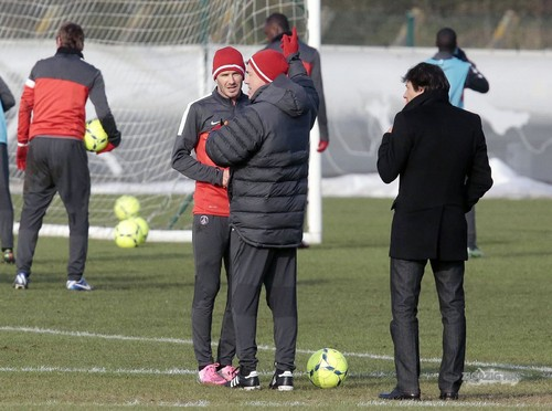 Feb. 13th - Paris - David training with PSG team