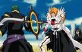 Hollow Ichigo protecting Rukia from Inaba