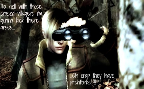 Leon hid behind a puno (resident evil 4) before he enters the village