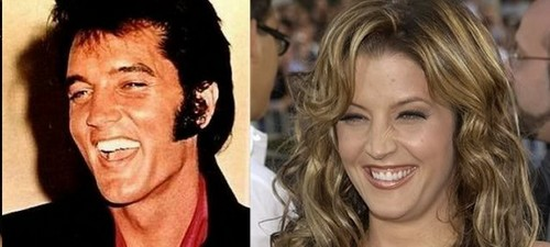 Elvis Aaron e Lisa Marie Presley wallpaper containing a portrait entitled Lisa & Elvis