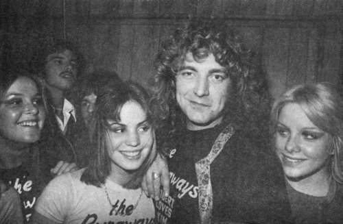 the runaways wallpaper probably with a portrait titled Lita , Joan and Cherie with Robert Plant ( Led Zeppelin )