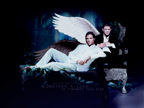supernatural wallpaper possibly containing a drawing room, a sign, and a living room titled Lucifer & Michael ¦ Sam & Dean
