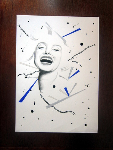Marilyn Monroe - Abstract Minimal Mixed Media Portrait