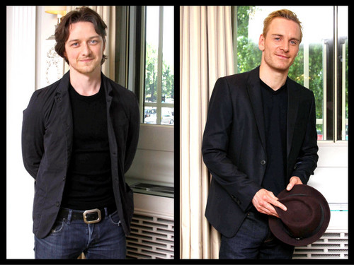 James McAvoy and Michael Fassbender वॉलपेपर probably containing a business suit titled McFassy