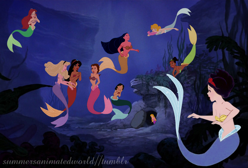 Disney crossover karatasi la kupamba ukuta entitled Mermaid Princesses