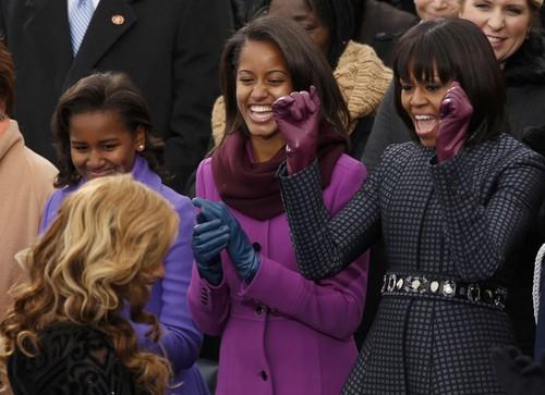 Michelle And Her Daughters, Malia And Sasha