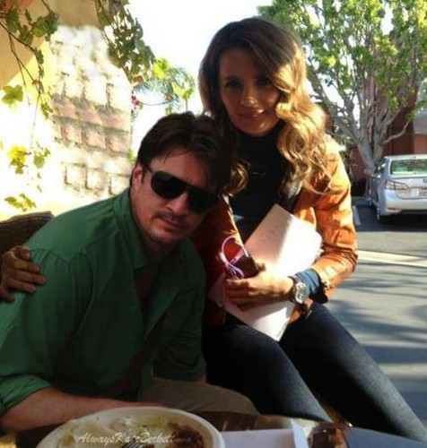 Nathan Fillion & Stana Katic wallpaper possibly containing a lunch, a street, and an ayo, antipasto titled Nathan Fillion & Stana Katic