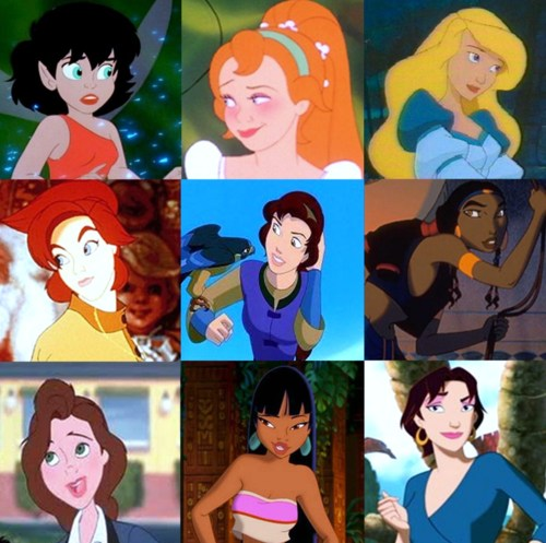 Childhood Animated Movie Heroines karatasi la kupamba ukuta possibly with anime called Non-Disney Heroines