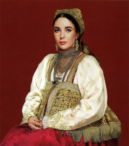 Elizabeth Taylor karatasi la kupamba ukuta possibly containing a surcoat, a kirtle, and a tabard titled Russian traditional dress