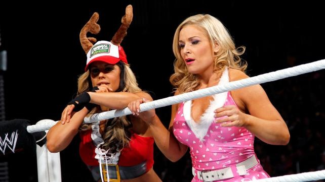 Wwe diva kaitlyn santa's helper eight-diva tag team match: photos