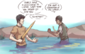 Son of Sobek - Percy Jackson and the Crocodile scene. - the-heroes-of-olympus fan art