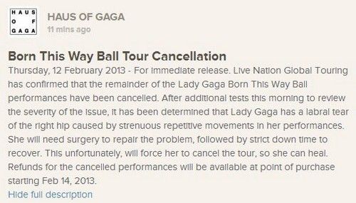 Special Announcement door the Haus of Gaga: Born This Way Ball Tour Cancellation