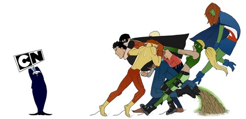 Young Justice karatasi la kupamba ukuta titled Superboy vs Cartoon Network