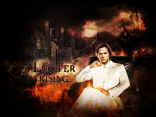 Supernatural wallpaper possibly with a sign, a street, and a lippizan titled Sam Winchester ϟ Lucifer Rising