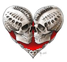 Two skulls inside a دل <3