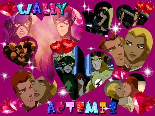 in young justice wallpaper probably with anime titled Wally and Artemis