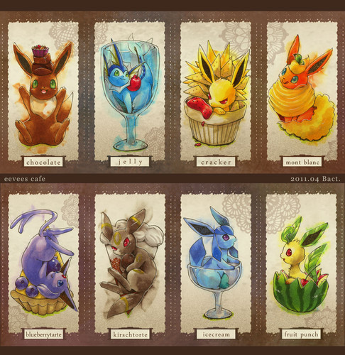 Eevee Evolutions Clan Обои containing a stained glass window called eevee cafe