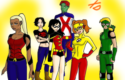 Teen Titans vs. Young Justice fond d'écran probably containing animé entitled genderbend_young justice