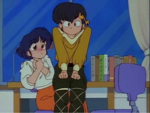 ryoga sitting on Akane's lap (ranma 1/2)