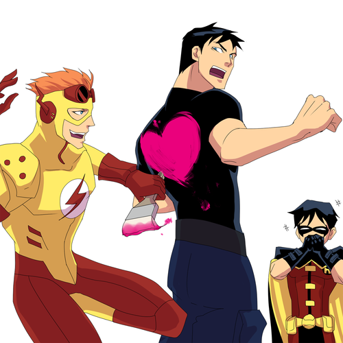 Young Justice karatasi la kupamba ukuta possibly with anime titled valentine