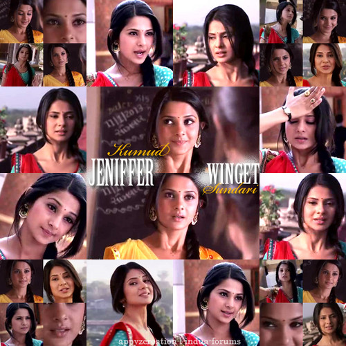 Saraswatichandra (TV series) karatasi la kupamba ukuta possibly containing a bridesmaid and a portrait titled || Kumud ||
