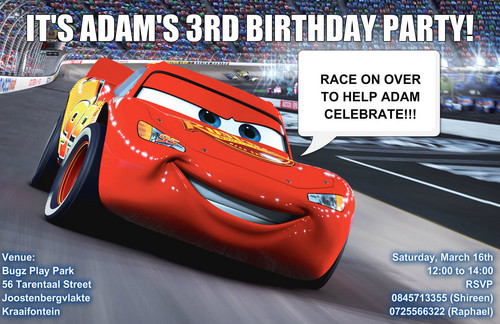 Disney Pixar Cars karatasi la kupamba ukuta entitled Adam's Invite