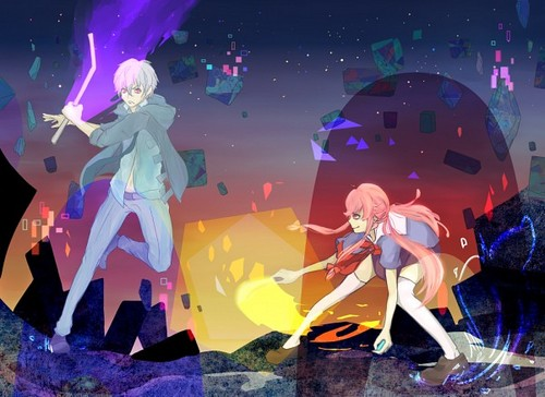 mirai nikki 壁纸 entitled Akise and Yuno