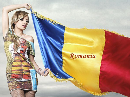 Alexandra with Romania flag ~ famous romanians girls