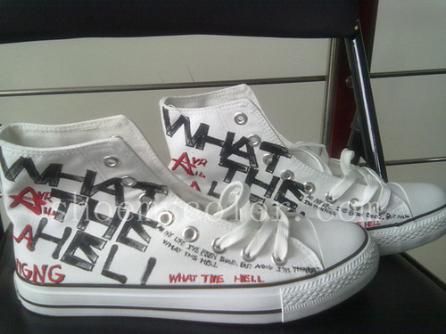Avril Lavigne hand painted shoes