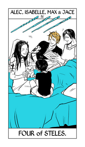 Cassandra Jean's Tarot Cards: Alec, Isabelle, Max & Jace {Four of Steles}.