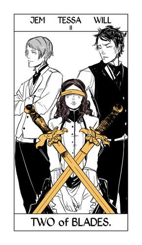 Cassandra Jean's Tarot Cards: Tessa, Will & Jem {Two of Blades}.