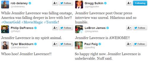 Berühmtheiten tweet their Liebe for Jennifer Lawrence.