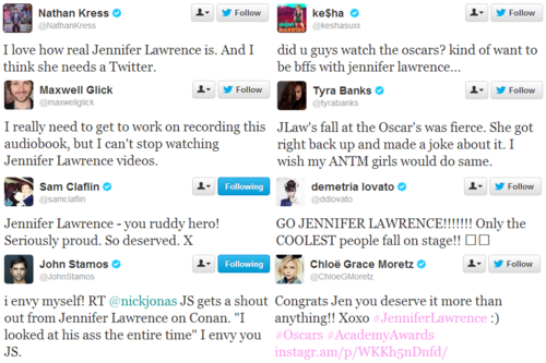 Celebrities tweet their love for Jennifer Lawrence.