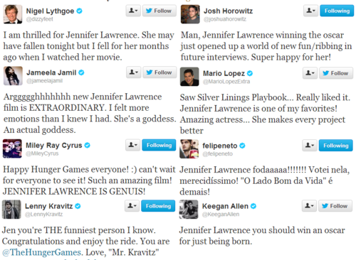 Celebrities tweet their pag-ibig for Jennifer Lawrence.
