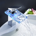 Charming Color Changing LED Waterfall Bathroom Sink Faucet