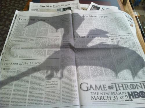 Game of Thrones ad in New York Times