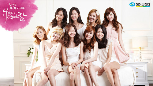 Kpop wallpaper possibly with a bridesmaid, a dinner dress, and a cocktail dress entitled Girls' Generation