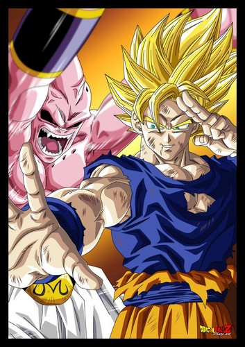 dragon ball z wallpaper containing animê entitled goku vs Kid buu
