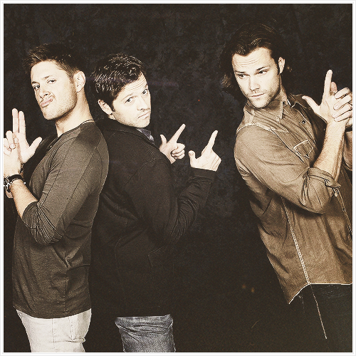 "Jensen, Misha and Jared with ""guns"""