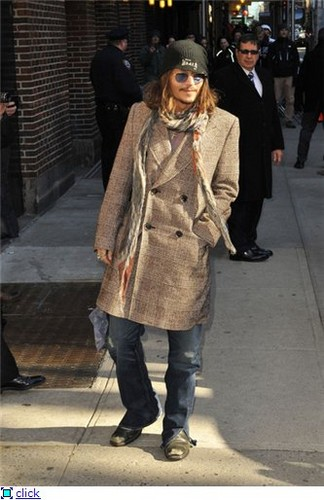 Johnny arriving at David Lettermann