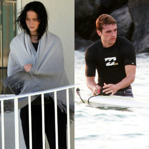 Josh Hutcherson & Jennifer Lawrence in Hawaii (2/27/2013)
