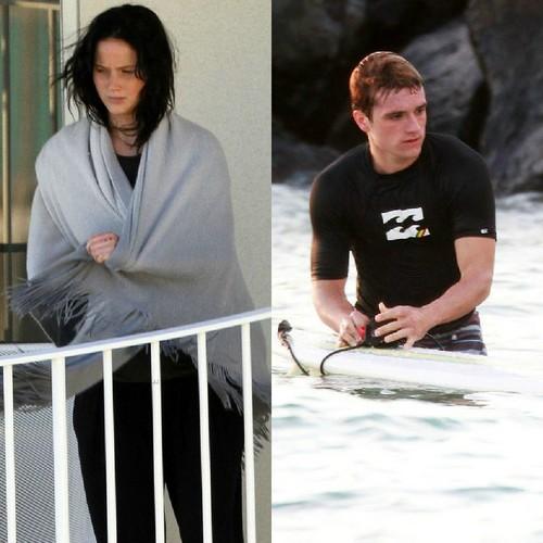 Josh Hutcherson & Jennifer Lawrence in Hawaii (2/27/2013)