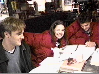 Joshua Jackson & Katie Holmes hình nền probably with a brasserie, a sign, and a bữa tối, bữa ăn tối bàn entitled Josh & Katie