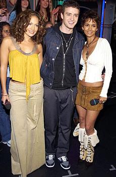 Justin Timberlake, Halle Berry, Jennifer Lopez 2002