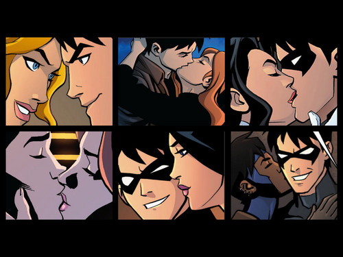 in young justice wallpaper possibly with anime entitled NIghtwings kisses