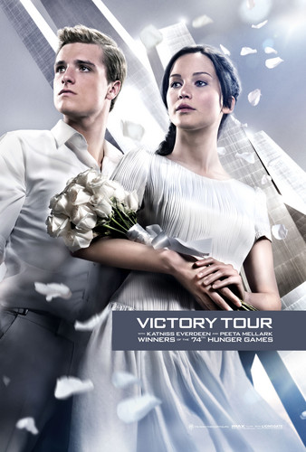 Peeta Mellark वॉलपेपर containing a bridesmaid titled Official Catching आग Poster- Katniss and Peeta [HQ]