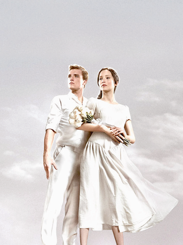 Peeta Mellark fondo de pantalla probably containing a bridesmaid titled Official Catching fuego Poster-Peeta & Katniss