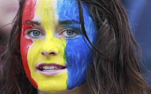 Romania team flag women suporters romanian sport people